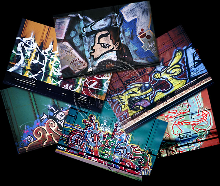 Boxcar graffiti art photo image gallery featuring multiple